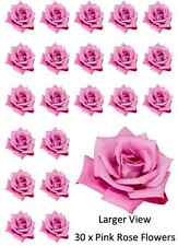 30 x Pink Rose Single Cupcake Toppers Edible Wafer Paper Fairy Cake Toppers