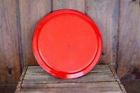 Vintage Red Enamelware Tray Large circle enamelware tray farmhouse decor