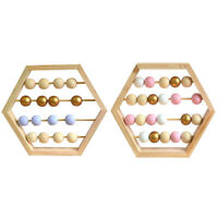 Nordic Natural Wooden Abacus with Beads Craft Baby Early Learning Education H4U4