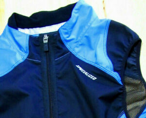 Specialized Cycling Vest Jersey Wind Gilet Mens Size Small Blue Black Mesh Back