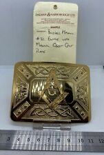 A one-off factory sample gilt metal MASONIC BELT BUCKLE with paperwork - - - B35