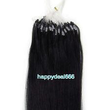 "50gr 100S Micro Ring Loop  Tip 100% Remy Human Hair Extensions Natural Black 20"""