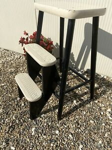 Vintage Retro White/black Painted Rustic Folding Steps Stool Chunky Wooden Steps