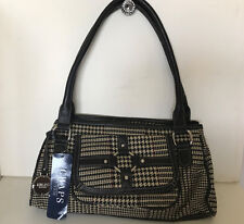NEW! CHAPS RALPH LAUREN CIRCLE LINE BROWN HOUNDSTOOTH SATCHEL TOTE BAG PURSE $58