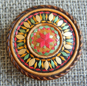 """Antique Vtg Wood Parquetry Button Back Marked~Aprx:1-1/4""""~#1109-E"""