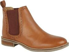 Cipriata LIDIA Ladies Womens Real Soft Leather Brogue Detail Chelsea Boots Tan