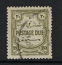 JORDAN : 1929 Postage Due 20m olive-green perf 14  SGD193 used