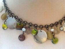 Premier Designs Tahitian Shells Mother Of Pearl Tigers Eye Pearl Charm Necklace