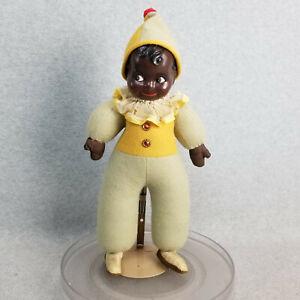 "15"" vintage antique composition & cloth Kewpie Googly Eyed Black Clown Doll"
