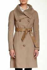 Mackage Leigh Wool Blend Sand Coat with Leather Belt Size Large