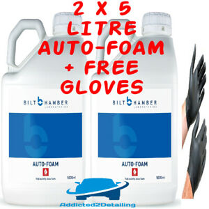 2 X 5 LITRE BILT HAMBER AUTO-FOAM PRE WASH SNOW FOAM FOR LANCE CAR SHAMPOO+GLOVE