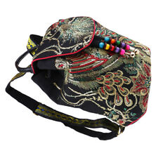 Women Ethnic Backpack Embroidery Backpack Lady Canvas Shoulder Bags Black