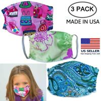 Kids Face Mask Washable Reusable  3 Pack Made in USA
