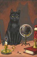 4X6 HALLOWEEN POSTCARD PRINT LE 11/27 RYTA VINTAGE STYLE ART BLACK CAT WITCH