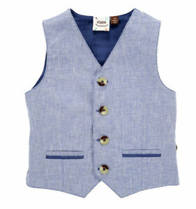Fore!! Axel and Hudson Blue Linen and Plaid Reversible Vest, Size: 10/12