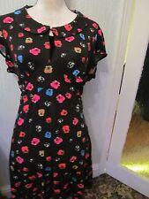 asos size 16 black flosal 50s cap sleeve  tea dress