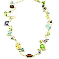 14K Yellow Gold Multi-Shaped and Multi-Colored Gemstones Necklace 36 Inches