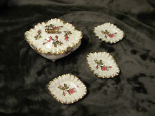 MADE IN JAPAN Vintage Footed NUT DISH W/3 Smaller Nut Dishes inside Lidded Dish