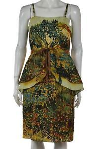 Tracy Reese Womens Dress Size 10 Green Printed Sheath Knee Length Sleeveless
