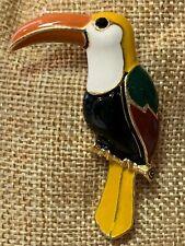 Enameled Toucan Type Bird Brooch