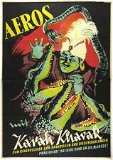 Vtg Orig. Poster Cirkus Aeros,  The Ruler of Crocodiles andt Snake, Karah Khavak