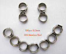 "100pcs 15.3mm 3/5"" PEX Stainles Steel Ear Clamp Cinch Rings Crimp Pinch Fitting"