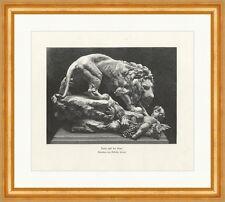 Amor und der Löwe Goffredo Ferrari Gruppe Gott Tiere Statue Holzstich A 1706