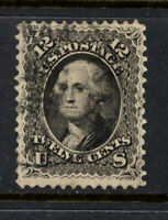 SCOTT 69 1861 12 CENT WASHINGTON REGULAR ISSUE USED VF CAT $95!