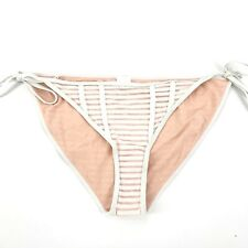 cd5e30f4f7b Topshop Womens Size 10 Sheer Stripe Side Tie Bikini Swim Bottoms White NEW