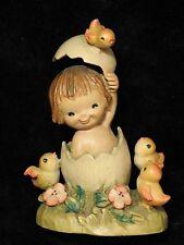 Anri Italian wood carving Figurine statue Girl in The Egg by Juan Ferrandiz