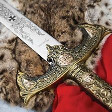 Knights Templar Long Sword and Wall Plaque New