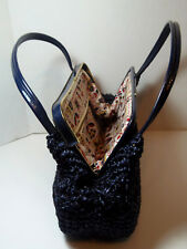 Vintage Midnight Blue Straw Handbag