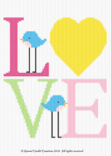 Crochet Patterns - LOVE BIRDS Baby Color Graph/Chart Afghan Pattern **EASY**