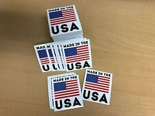 """Made in America (B) Decals 2"""" x 2"""" 100 pack (Free Ground Shipping)"""