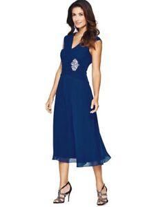 BNWT BERKERTEX  BLUE CHIFFON BROOCH DETAIL DRESS SIZE UK 14 CRUISE WEDDING