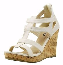 Womens Platform Wedge Clog Wooden Heels Chunky Gladiator Strappy Sandals Shoes