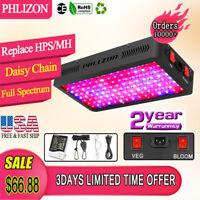 Phlizon Newest 600W LED Plant Grow Light Veg/Bloom Thermometer Humidity Monitor