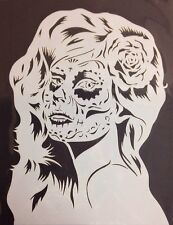Mylar reusable stencil 10 mils Sugar Skull Girl  for Airbrush design art & craft