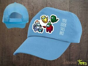 """Kids Among Us """"YOU LOOK SUS BRO"""" & Crewmate Baseball Cap Boys Girls Gamer Hat"""