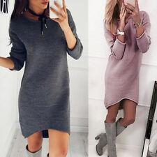 Women Irregular Winter Solid O-Neck Sweater Dress Long Long Sleeve Pullove Dress