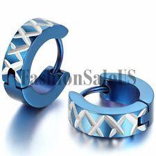 Men Women Fashion Unique Stainless Steel Cross Charm Hoop Huggie Earrings 2PCS