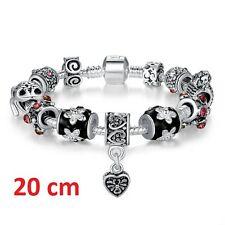 Armband 925 Silber 20 cm Schwarz 12 in 1 Bead Bettelarmband Charms Liebe Herz