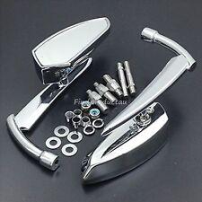 Chrome billet Mirrors Harley Dyna Softail Electra Glide Yamaha Kawasaki Bobber