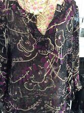 Monsoon Black & Purple Long Sleeve Silk Tunic S16-20 Ec Away 4 September-18.10