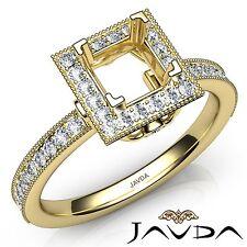 Diamond Engagement 14k Yellow Gold Halo Princess 0.5Ct Semi Mount Milgrain Ring
