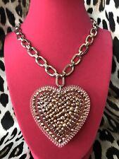 """Luly Lu """"Indian Summer"""" Vintage HUGE Lucite Heart Rose Gold Swarovski Necklace"""