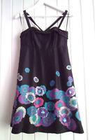 BNWOT - LADIES OASIS BLACK SILK EVENING DRESS WITH BLUE FLOWER DETAIL - SIZE 10