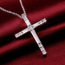 Promotion Price 925Sterling Silver Zircon Cross Pendant Chain Necklace GN539