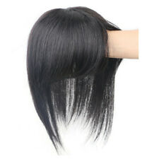 100% Real Human Hair Topper Toupee Clip Hairpiece Bangs Bob Top Wig For Women