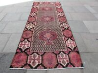 Old Hand Made Traditional Persian Rug Oriental Rug Wool Brown Rug 324x129cm